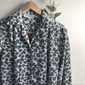 Oscar De La Renta button vintage floral blouse
